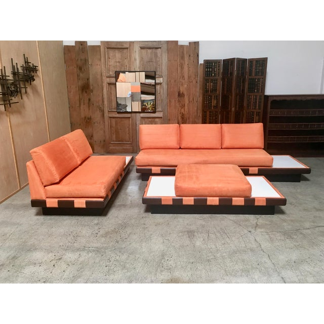 Fabric 20th Century Adrian Persall Style Sofa Sectional and Coffee Table - 3 Pieces For Sale - Image 7 of 13