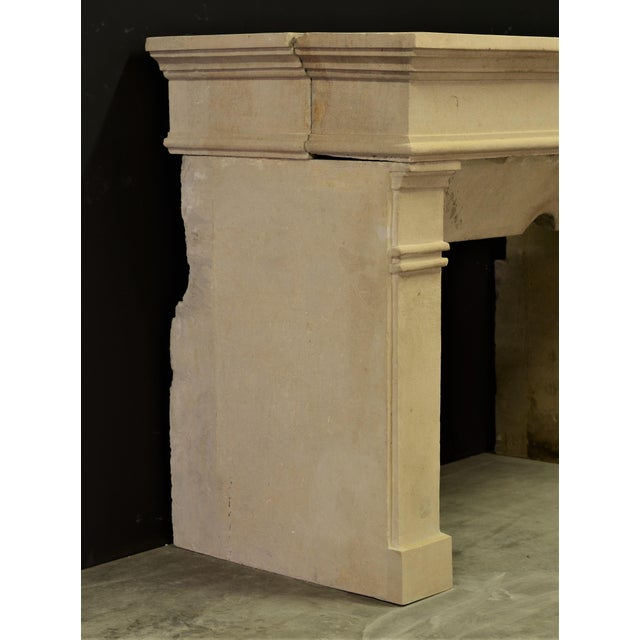 Limestone Antique Fireplace Mantel From France For Sale - Image 7 of 9
