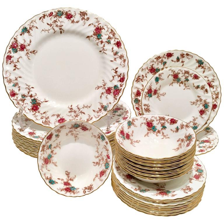 Vintage Minton England \ Ancestral\  Bone China Dinnerware - Set of 26 - Image 2  sc 1 st  Chairish & Vintage Minton England \