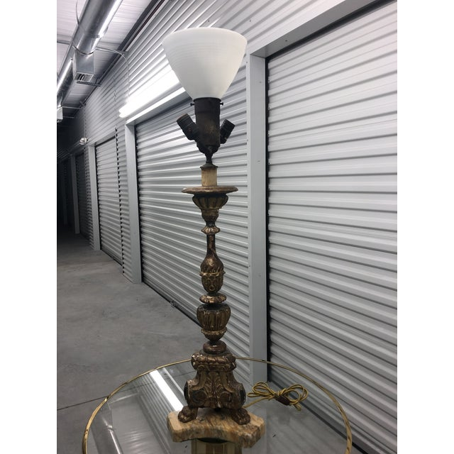 Brown Antique 19th C. French Carved and Gilded Marble Base Table Lamp For Sale - Image 8 of 8