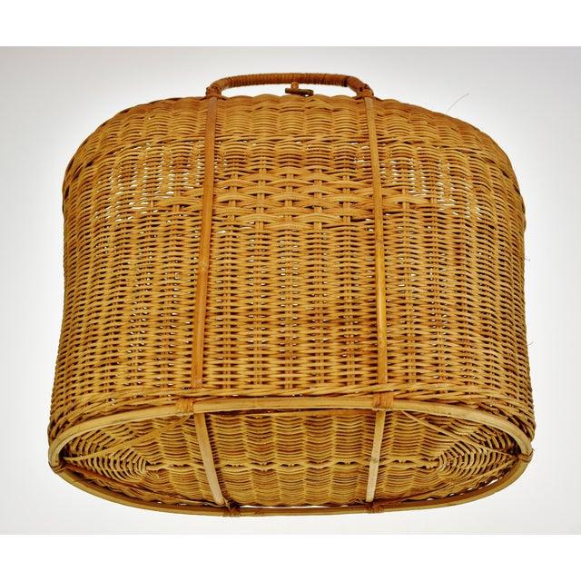 Vintage Wicker Tote Basket For Sale - Image 9 of 11