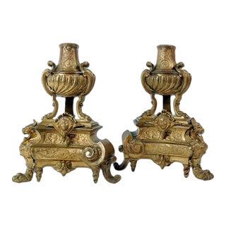 Early Georgian Style Bronze Chenets - A Pair For Sale