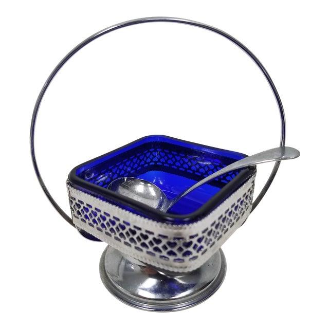 Antique English Cobalt Blue Silver Plate Condiment Server For Sale