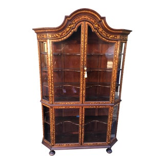 Antique Dutch Marquetry Inlaid Rosewood Cabinet Vitrine
