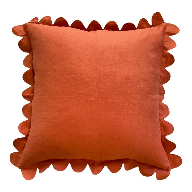 Carly Home Paprika Scalloped Pillow For Sale