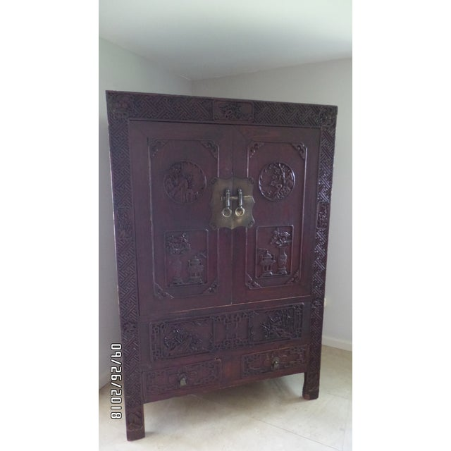 Antique Chinese Wardrobe- Wedding Chest For Sale In Tampa - Image 6 of 13