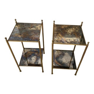 1960s Maison Jansen Brass Mirrored Two-Tier End Tables - a Pair For Sale
