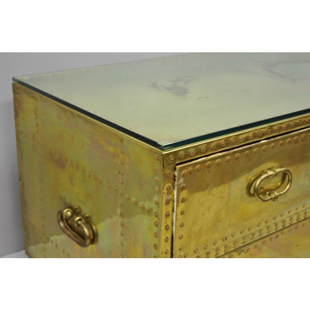 Sarreid Ltd. Vintage Sarreid Two Drawer Brass Studded Campaign Style Low Chest of Drawers For Sale - Image 4 of 13
