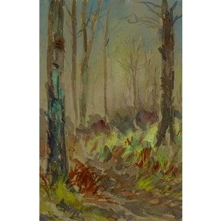 Forest Watercolor Landscape For Sale