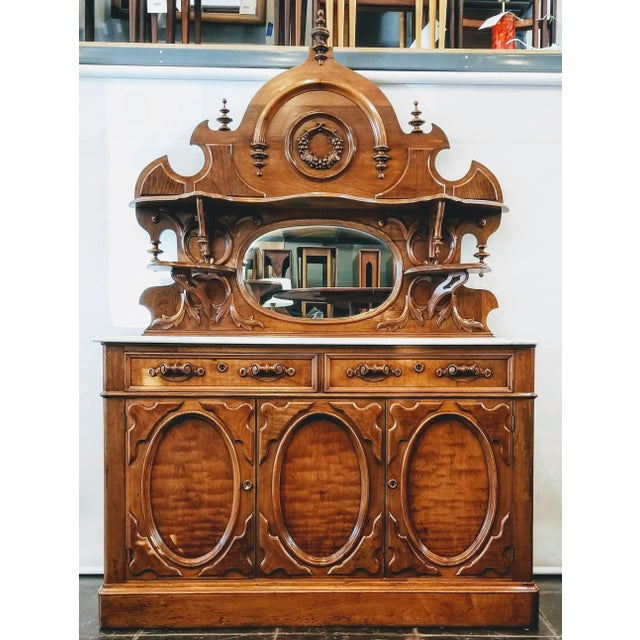 American Victorian Gothic / Renaissance Revival Italian Marble Del Duomo Topped Sideboard For Sale - Image 13 of 13
