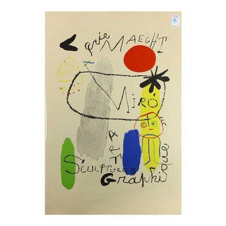Vintage Mid Century Miro Lithograph For Sale