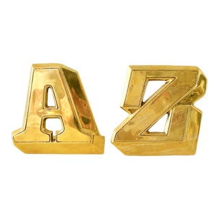 """Pair of Mid-Century """"A"""" & """"Z"""" Brass Bookends For Sale"""