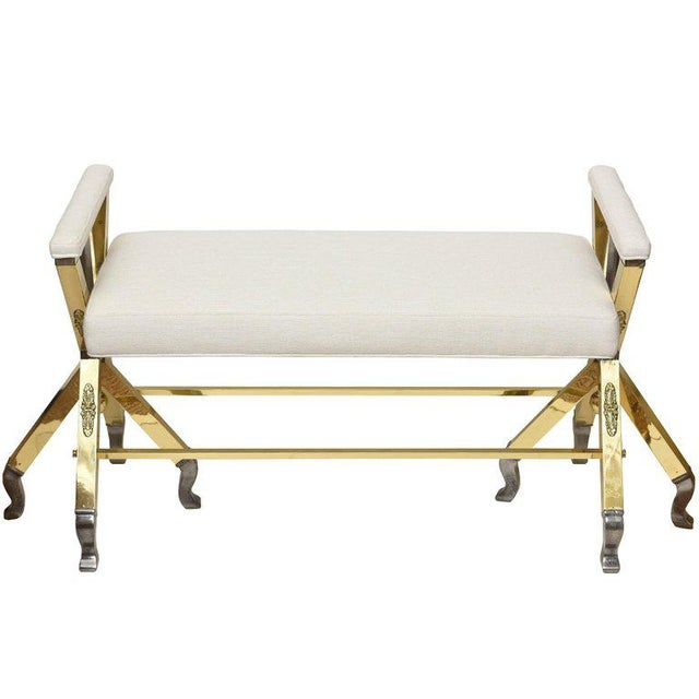 White Mid-Century Modern Brass and Steel and Upholstered 3-Legged Bench For Sale - Image 8 of 8