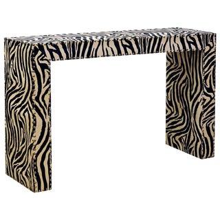 Custom Made Mid-Century Modern Console Table With Nailhead Trimmed Zebra Print For Sale