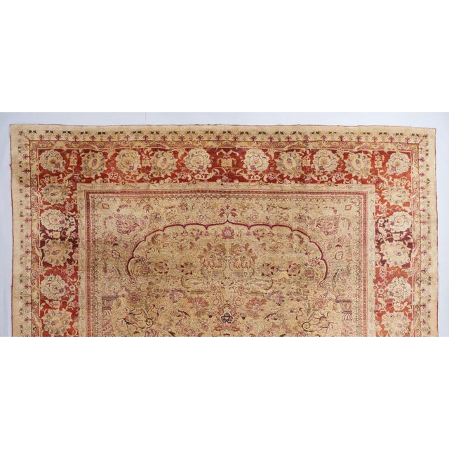 Traditional Beige Ground Indian Carpet For Sale - Image 3 of 8