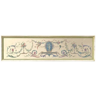 Robert Adam Style Painted Interior Architectural Panel, Framed For Sale