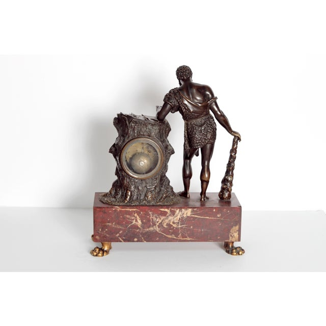 "Gold French Empire ""Farnese Hercules"" Mantel Clock attributed to Claude Galle For Sale - Image 8 of 11"