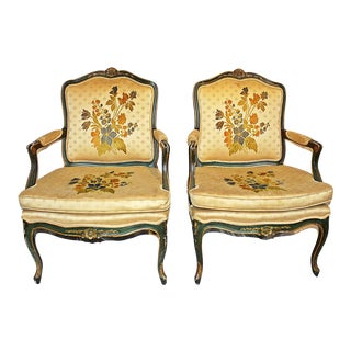 French Louis XV-style Fauteiuls Armchairs, Pair