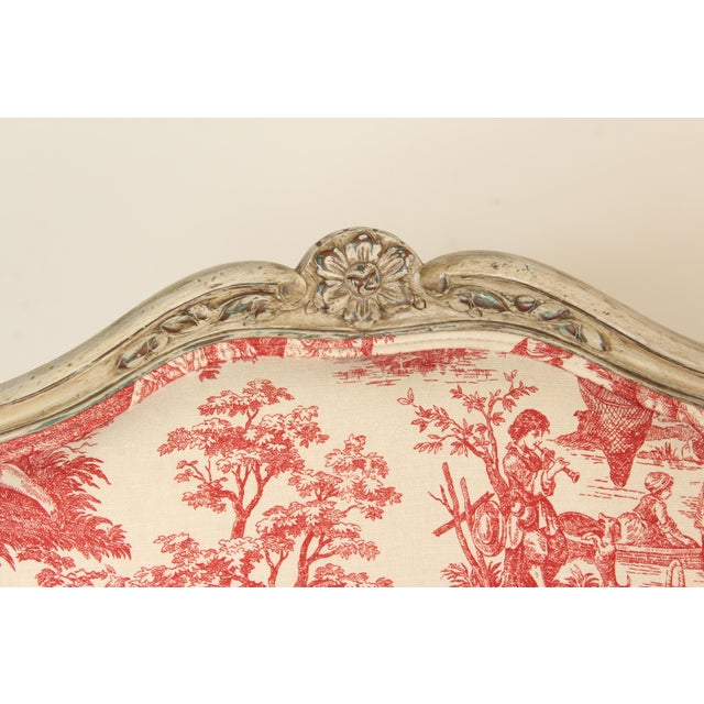 Red 1930s Louis XV Provincial Painted Armchair For Sale - Image 8 of 13