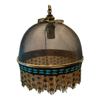 Beaded Vintage Mackenzie Childs Hanging Lamp For Sale