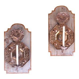 Late 19th Century Dutch Repoussee Brass and Copper Sconces Mounted on Painted Backboards - a Pair For Sale
