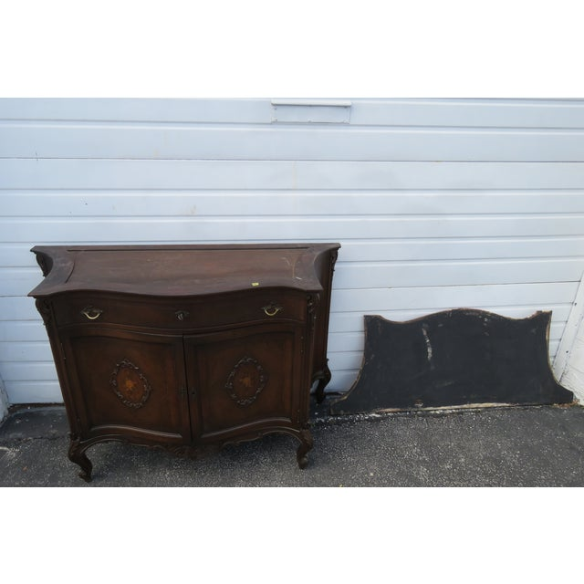 Metal French Early 1900s Marble Top Commode Server Buffet Bathroom Vanity For Sale - Image 7 of 13