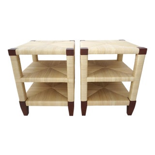 Vintage John Hutton Block Island Collection for Donghia Side Tables in Wicker and Mahogany - a Pair For Sale