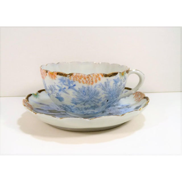 Early 20th Century Antique Asian Thin Blue & White Flowers Birds Landscape Cup & Saucer Set For Sale - Image 5 of 6