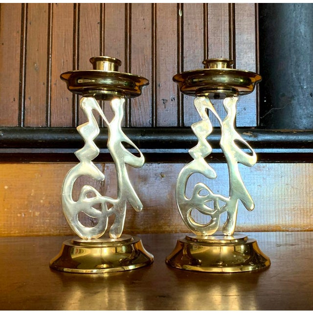 Mid 20th Century Brass Asian Candlesticks, Figural Letters, Vintage Design For Sale - Image 5 of 5