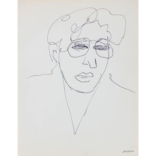 Pasquale Patrick Stigliani Modernist Line Drawing Portrait With Glasses, Ink on Paper, 20th Century For Sale