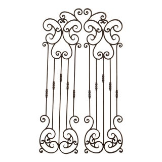 Pair of Vintage Spanish Style Wrought Iron Garden Gate Doors No Hardware For Sale
