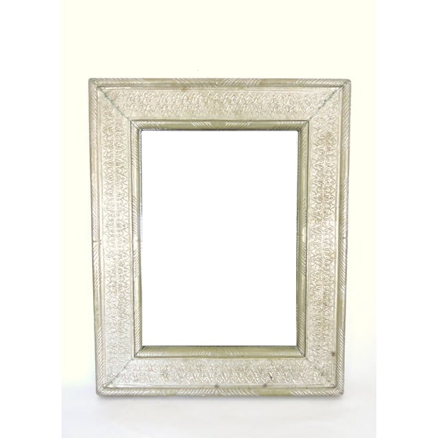 Vintage Indian Hammered Silver Rectangular Patterned Wall Mirror For Sale In Tampa - Image 6 of 6
