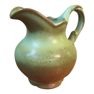 Vintage Green and Brown Frankoma Pitcher For Sale