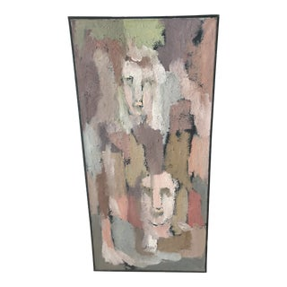 Vintage Mid-Century Modern Original Abstract Faces Oil Painting For Sale