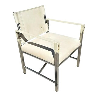 MCM Palecek Campaign Style Genuine Leather and Chrome Armchair For Sale