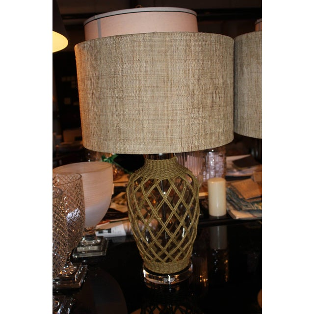 Coastal Rope Net Wrapped Glass Vase Lamps Pair Chairish