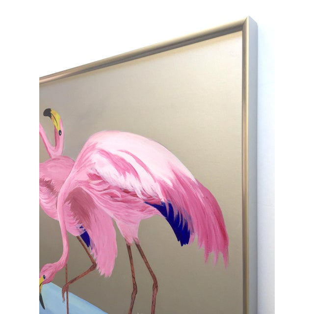 """Rare Vintage 1950s Art Deco """" Pink Flamingos in Lagoon """" Framed Original Fine Art Gouache Painting on Board For Sale - Image 9 of 13"""