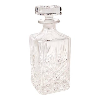 Vintage Crystal Square Decanter Fan Diamond Cuts Liquor Holder For Sale