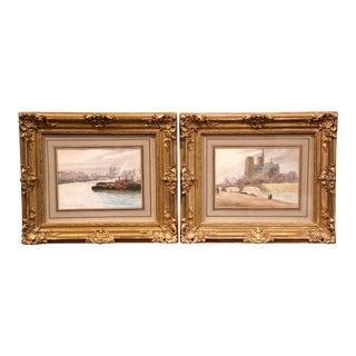 Pair of 19th Century French Parisian Scenes Watercolors Signed Duchesne