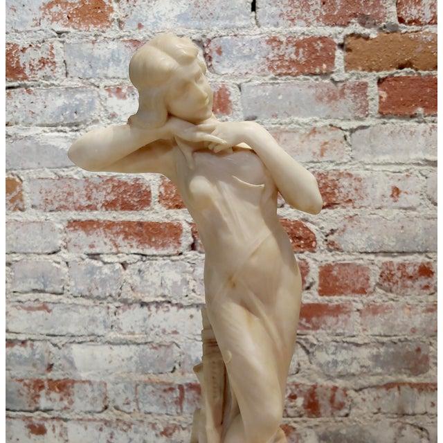 Alabaster Berlincioni -Beautiful Nymph -Italian Art Nouveau Alabaster Sculpture For Sale - Image 7 of 11