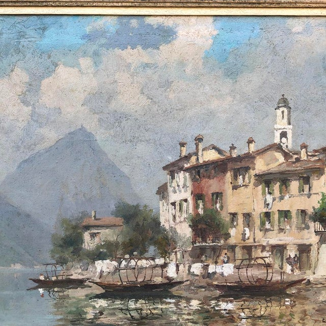 Antique Framed Oil Painting on Canvas For Sale - Image 9 of 12