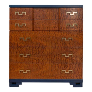 Six-Drawer Blue Lacquer and Mahogany Dresser