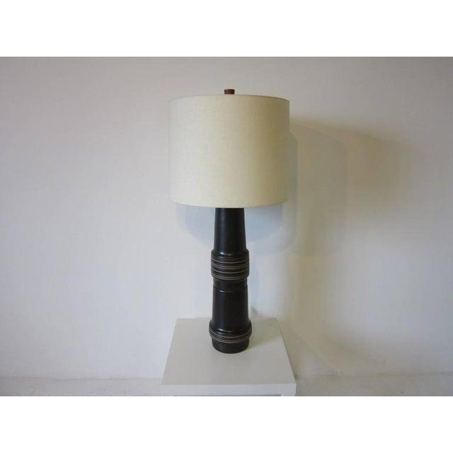 Teak Monumental Jane and Gordon Martz Pottery Table Lamp For Sale - Image 7 of 7