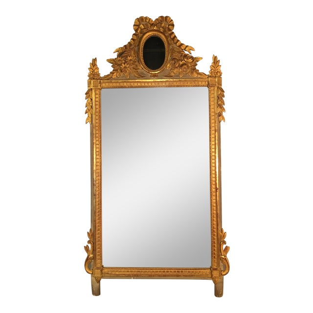 Louis XVI Style Painted and Gilded Mirror For Sale