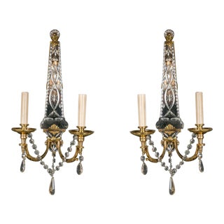 1920s French Gilt Bronze Sconces With Etched Mirrored Backplate - a Pair For Sale