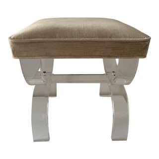 1970s Vintage Lucite X-Base Stool For Sale
