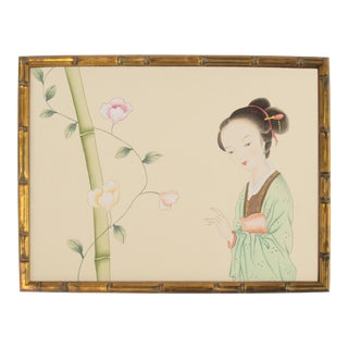 Vintage Chinoiserie Female Courtesan and Botanics in Gilt Faux Bamboo Frame For Sale