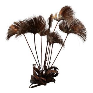 Mid Century 1960s John Steck Brutalist Pom Pom Desert Flowers Metal Sculpture on Stone Base For Sale
