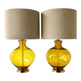 Pair of Yellow Blenko Lamps For Sale