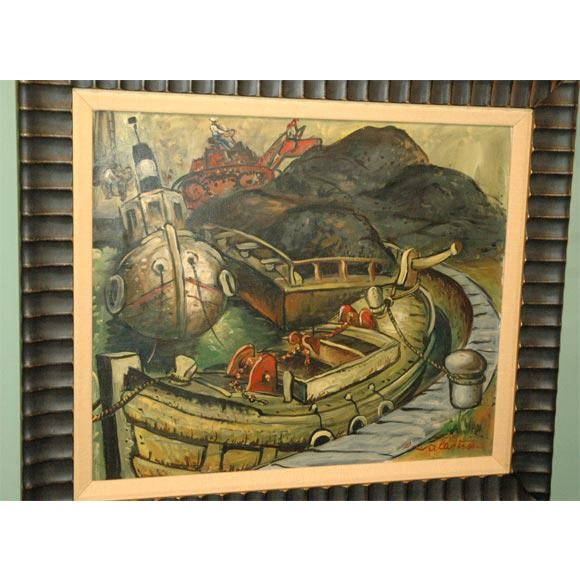 Canvas Wpa Style Ship Paintings - Set of 4 For Sale - Image 7 of 10